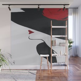 Retro Fashion; Glamour Lady with Black Hat Wall Mural