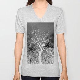 Naked trees forest, negative black and white photo Unisex V-Neck
