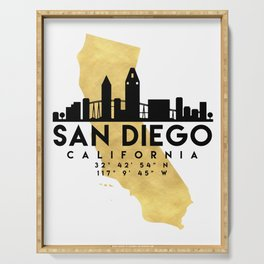 SAN DIEGO CALIFORNIA SILHOUETTE SKYLINE MAP ART Serving Tray