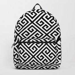 black and white pattern , Greek Key pattern -  Greek fret design Backpack