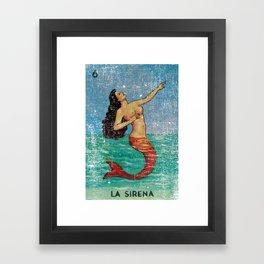 La Sirena Mexican Loteria Bingo Card Framed Art Print