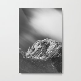Misty clouds over the mountains in black and white Metal Print
