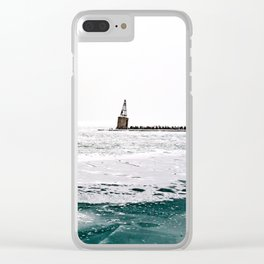 Winter in Chicago aka Chiberia; Ice Patches Float in Lake Michigan Clear iPhone Case