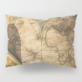 old nautical map with compass Pillow Sham
