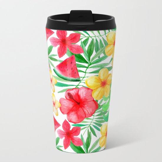 Happy Summer Life- Aloha Flowers and Melon - Pattern on #Society6 Metal Travel Mug