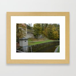 Castle moat around the Czech city of Krumlov Framed Art Print