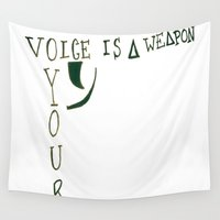 bastille Wall Tapestries featuring Your Voice is a Weapon by Dax M