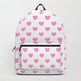 Pink Hearts on White Backpack