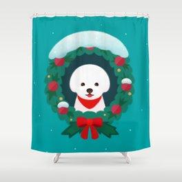 Christmas Bichon Shower Curtain