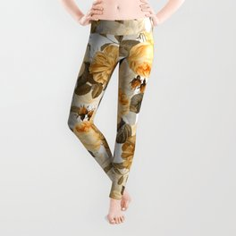 Vintage & Shabby Chic - Yellow Sepia Botanical Rose Flower Garden Leggings