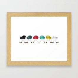 Eames® Molded Plastic Rocker with Wood Base - Cluster/Perspective Framed Art Print