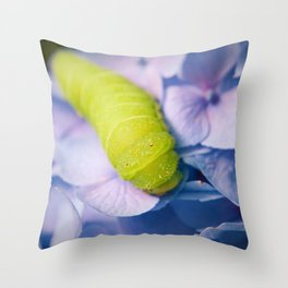 Actias Luna Larva on Hydrangea Nature Photo Throw Pillow