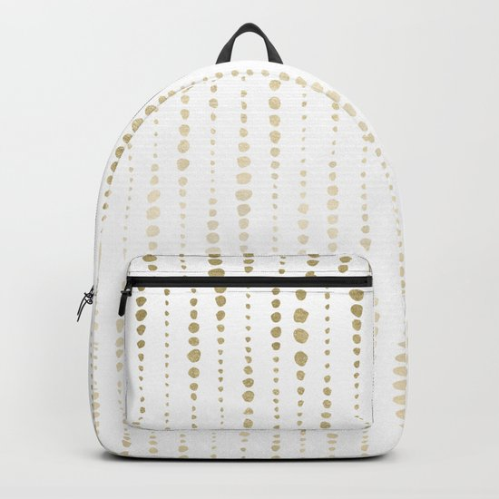 NYC Nights Gold Polka Dot Stripes Backpack