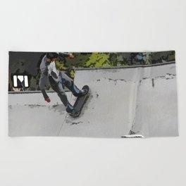 Up the Ramp  - Skateboarder Beach Towel
