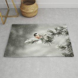 Winter Chickadee Rug