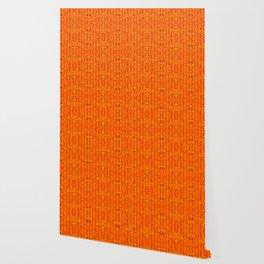 Orange Aztek Abstract Print Wallpaper