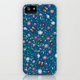 Blooms and Butterflies on Lapis Blue iPhone Case