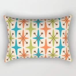 Mid Century Modern Abstract Star Pattern 441 Orange Brown Turquoise Chartreuse Rectangular Pillow