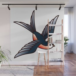 Vintage Tattoo Style Swallow Wall Mural