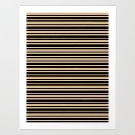 Tan Brown and Black Horizontal Var Size Stripes Art Print