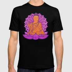 Peace Buddha in the Sky MEDIUM Black Mens Fitted Tee
