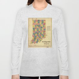 Vintage Indiana Railroad Map (1852) Long Sleeve T-shirt