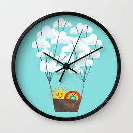 Hot cloud balloon - sun and rainbow Wall Clock