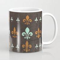 fleur de lis Mugs featuring Fleur de lis #2 by Camille