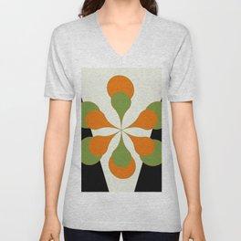 Mid-Century Modern Art 1.4 - Green & Orange Flower Unisex V-Neck