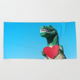 Tiny Arms, Big Heart: Tyrannosaurus Rex with Red Heart Beach Towel