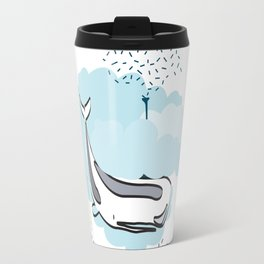 Whale cloud swimming. Joy in the clouds collection Travel Mug