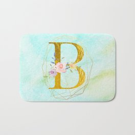 Gold Foil Alphabet Letter B Initials Monogram Frame with a Gold Geometric Wreath Bath Mat