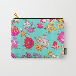 Floral with pink, red, yellow, and cream blooms. Version2 Carry-All Pouch