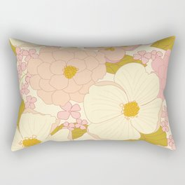 Pink Pastel Vintage Floral Pattern Rectangular Pillow