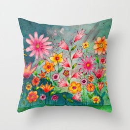 Wild flowers watercolor painting whimsical art Throw Pillow