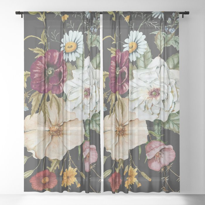 Colorful Wildflower Bouquet on Charcoal Black Sheer Curtain