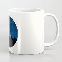 Mid Century Modern Round Circle Photo Blue Star Night Sky Pine Tree Silhouette Coffee Mug
