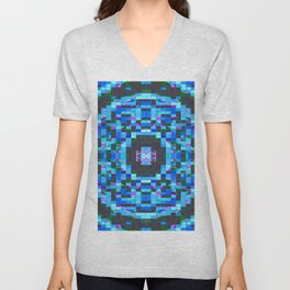 Blue-mosaic-pattern Unisex V-Neck