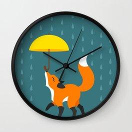 Happy as a Fox balancing an Umbrella in the Rain Wall Clock
