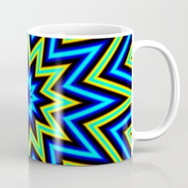 Yellow Green and Blue Psychedelic Star Pattern Coffee Mug