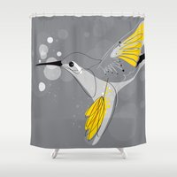 hummingbird Shower Curtains featuring Hummingbird by Steph Dillon