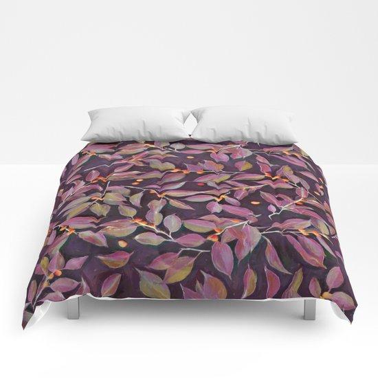 Leaves + Berries in Olive, Plum & Burnt Orange Comforters
