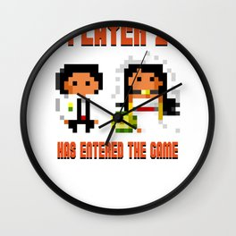 Player 2 Has Entered the Game Wedding Gamer Wall Clock