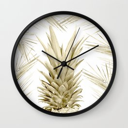 Gold Tropical Palm Pineapple Wall Clock