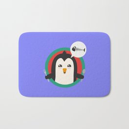 Penguin with cutlery and fish Bath Mat