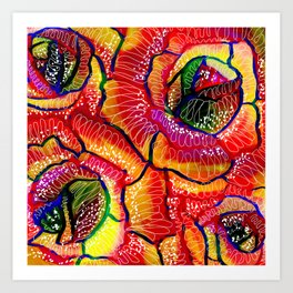 Flamboyant Colorful Roses Flowers Abstract Illustration Art Print