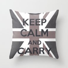 Keep Calm and Carry On UK - Purple/Grey Throw Pillow