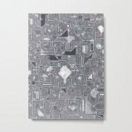 Gray circuitry Metal Print