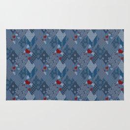 Denim patchwork rhombus with hearts. Rug