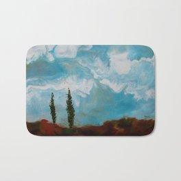 Cypress Trees encaustic wax painting by Seasons Kaz Sparks Bath Mat